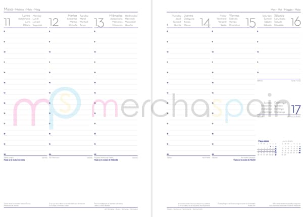 Agendas personalizadas con gráfica semana vista - Merchaspain