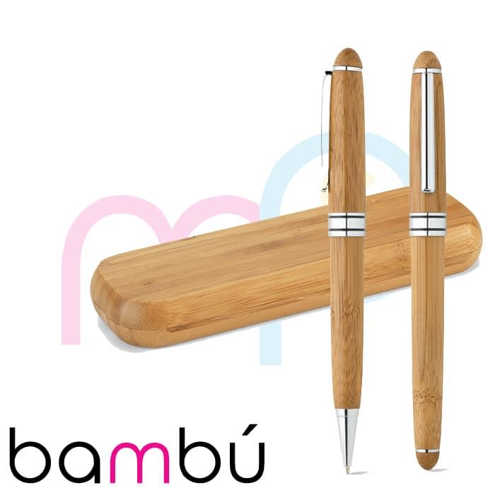 Bolígrafo ecológico de bambú - Merchaspain, bolígrafos personalizados